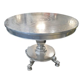 Maitland Smith Silver Entry Table, Pedestal Base with Lion Claw Feet