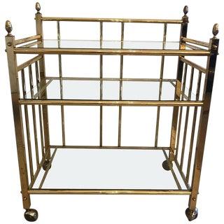 Mid-Century Modern Three-Tier Brass Bar Server
