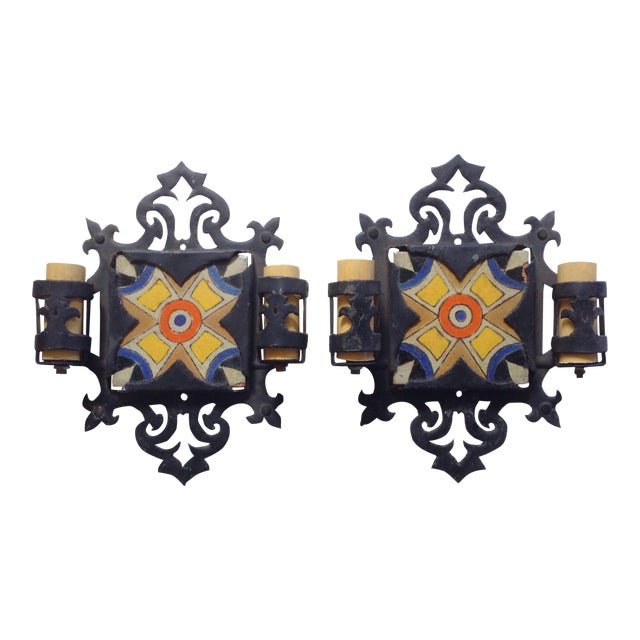D&M Tile and Iron Wall Sconces - A Pair - Image 1 of 3
