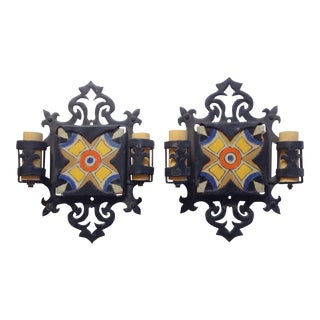 D&M Tile and Iron Wall Sconces - A Pair