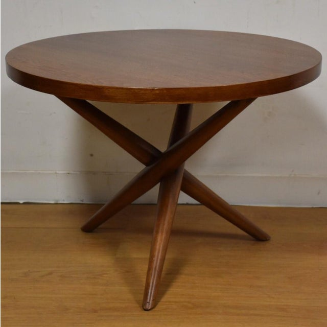 T h robsjohn gibbings tripod side table chairish for Table th width ignored