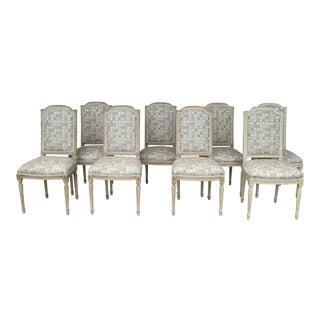 Grey & Cream Custom Dining Chairs - Set of 8