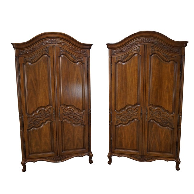 vintage french louis xv style armoires pair chairish. Black Bedroom Furniture Sets. Home Design Ideas
