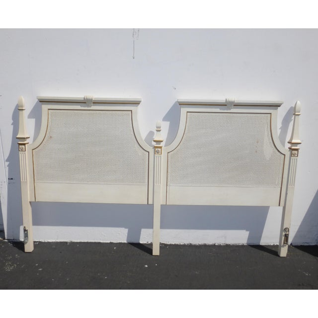French Provincial White & Gold Cane Headboard - Image 4 of 11