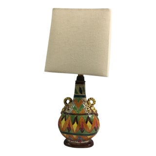 Vintage Italian Sgraffito Snake Handled Urn Style Table Lamp