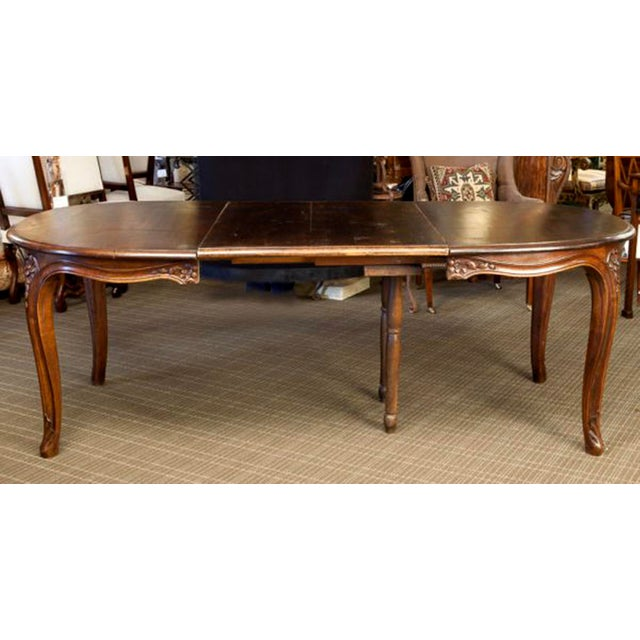 French dark fruit wood table with leaf chairish for Dark wood dining table with leaf