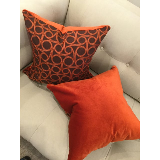 Kravet Orange Circle Jacquard/Pollack Orange Silk Velvet Pillows - a Pair - Image 2 of 8