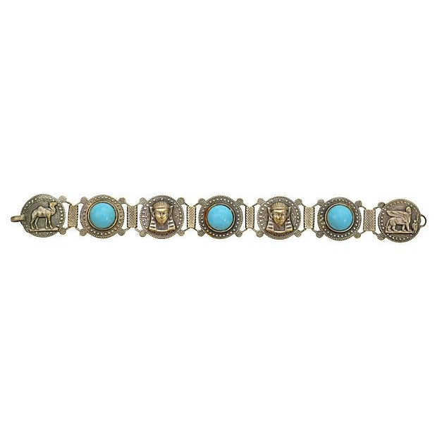Image of Egyptian Revival Bracelet w/ Turquoise Cabochon