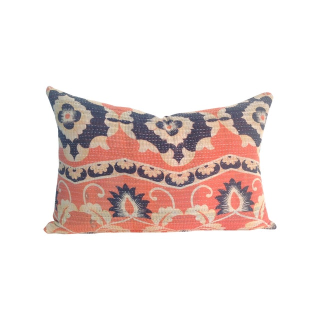 Vintage Coral Block Print Kantha Quilt Pillow - Image 1 of 4