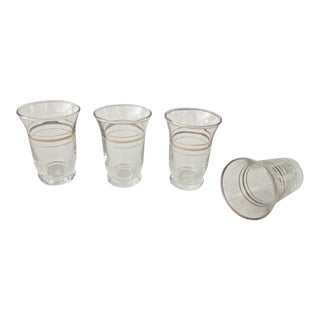 Mid-Century Gold Trimmed Cordial Glasses - Set of 4