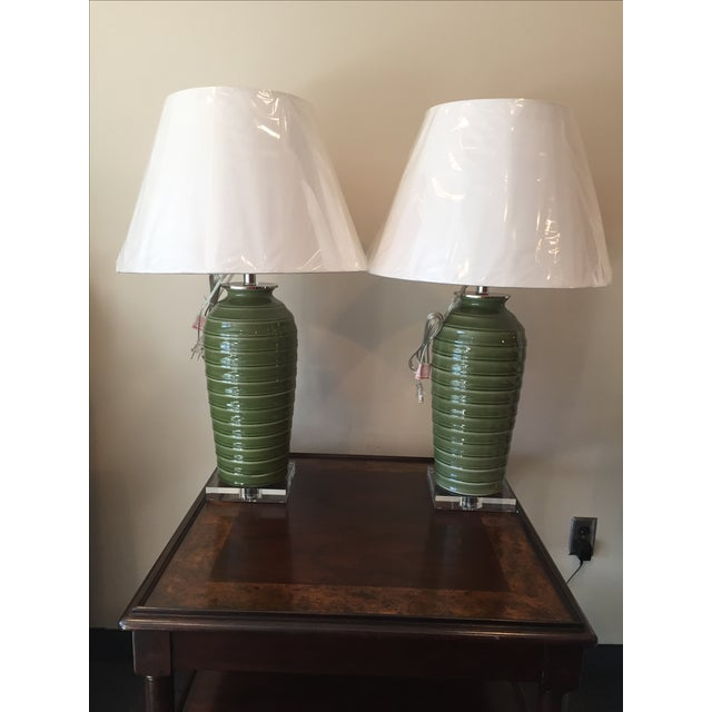 Image of Port 68 Palm Green Glazed Lamps - Pair