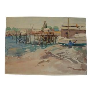 Mid-Century Boat Marina Watercolor Painting