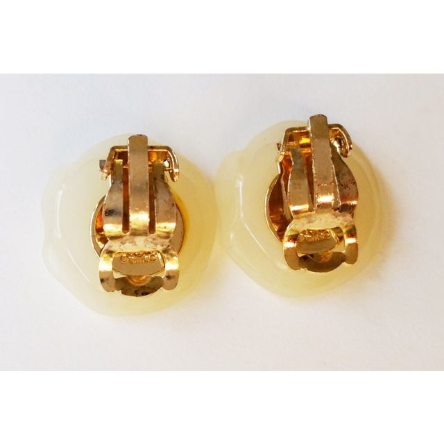 Image of Chanel CC Ivory Griopoix Camellia Earrings