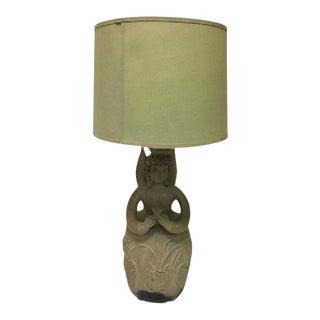 Circa 1960s Botero Style Angel Pottery Lamp