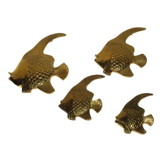 1960s Brass Angel Fish Wall Decor - Set of 4