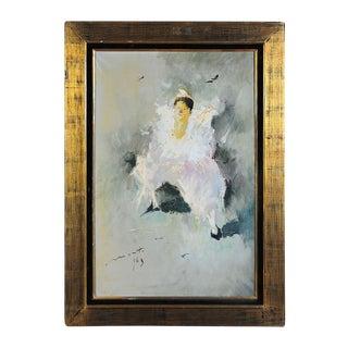 "Clown in White ""Original"" C.1960s Oil Painting"
