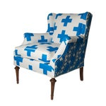 Image of Blue Plus Sign Small Wingback Chair