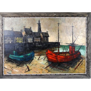 Harbor Scene Painting by M. Edward Griff
