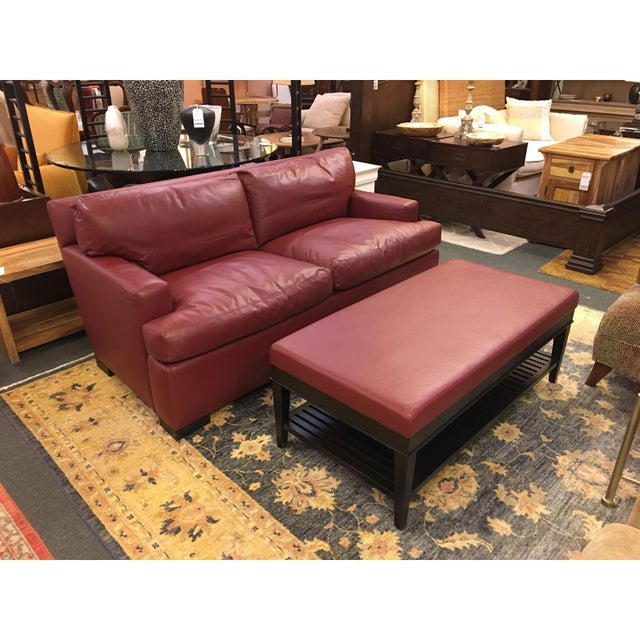 A rudin red leather sofa ottoman chairish for Red leather sectional sofa with ottoman