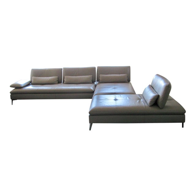 Roche bobois taupe 3 pc leather sectional sofa chairish - Chaises roche bobois ...