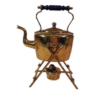 Antique English Brass Teapot With Stand & Burner