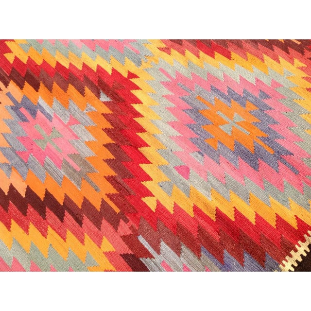 "Vintage Turkish Kilim Rug - 6'4"" X 9'10"" - Image 5 of 6"