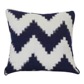 Dark Navy & Off-White Ikat Pillow