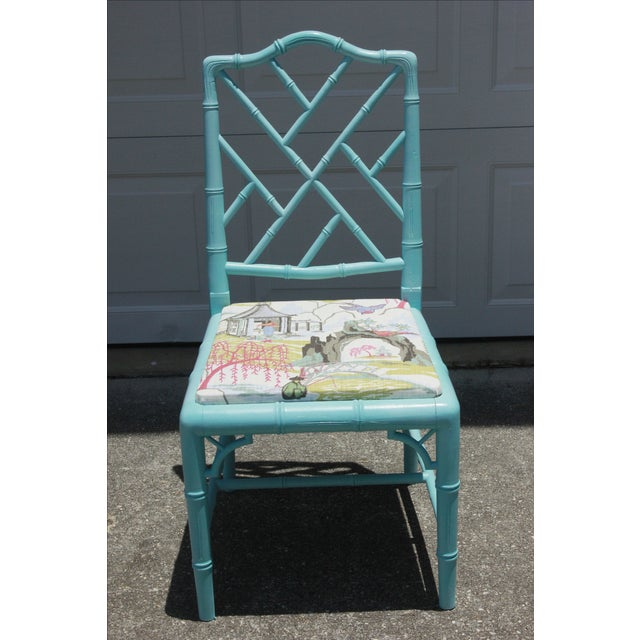 Vintage Faux Bamboo Chinese Chippendale Chair - Image 7 of 7