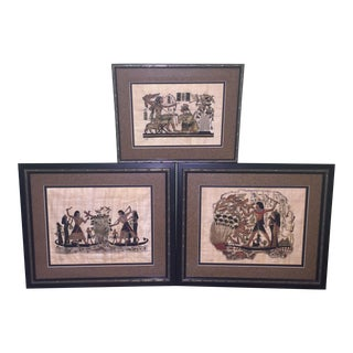 Framed Egyptian Paintings on Papyrus Paper - Set of 3