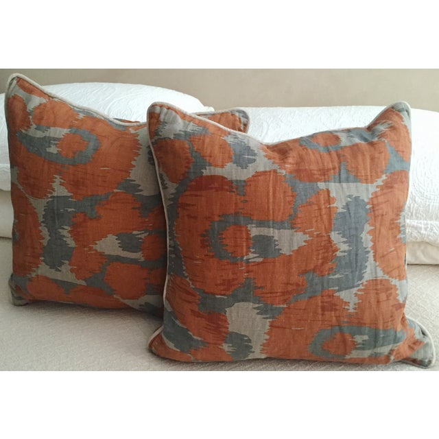 Orange & Gray Linen Pillows - A Pair - Image 4 of 6