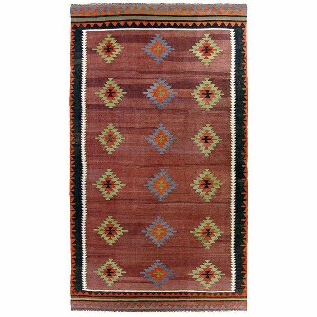 Maroon Vintage Turkish Kilim - 6'' x 10'9'' - Image 1 of 5