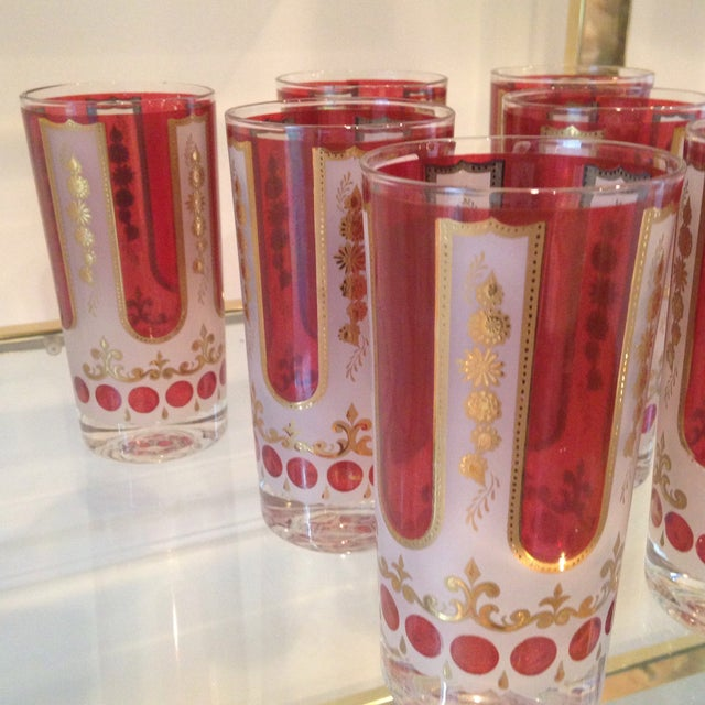 Red and Gold Mid Century Highball Glasses - 7 - Image 3 of 4