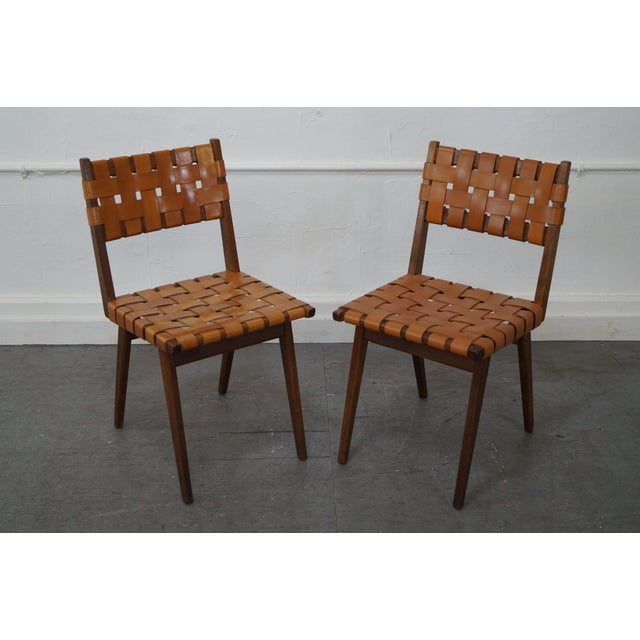 Jens risom solid walnut woven leather dining chairs set of 8 chairish - Jens risom dining chairs ...