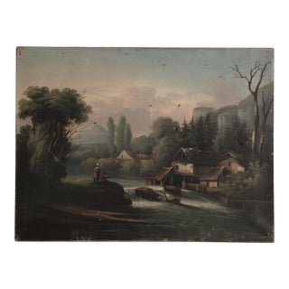 Vintage River Scene Painting
