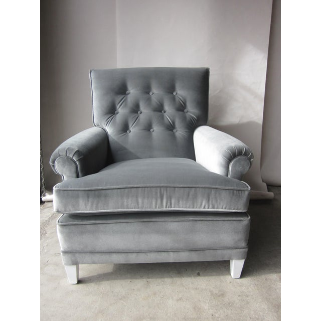 Large Grey Velvet Lounge Chair - Image 3 of 4