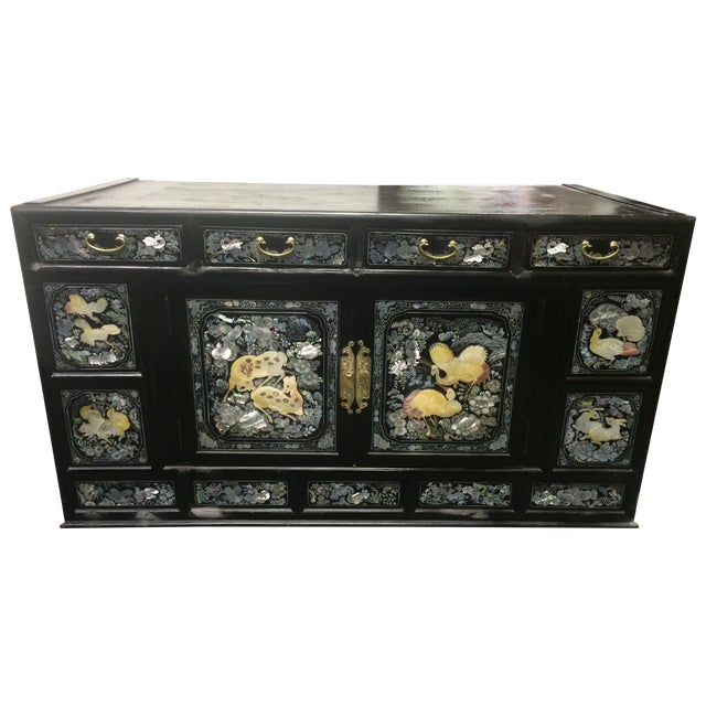 Asian Black Lacquer Mother of Pearl Inlay Chest - Image 1 of 7