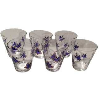 Vintage Blue Butterfly Double Shot Glasses - Set of 6