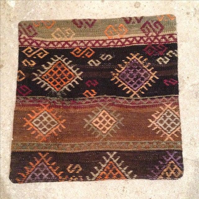 Vintage Brown Kilim Pillow - Image 2 of 5