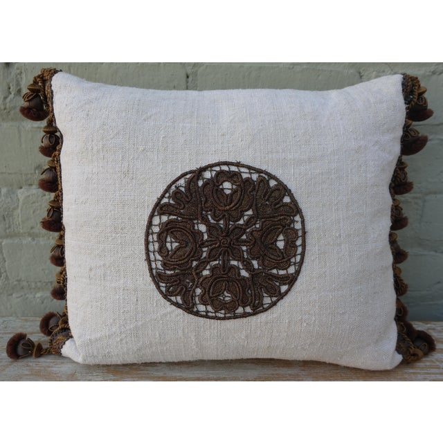Flower Metallic Applique Linen Pillow - Image 2 of 7