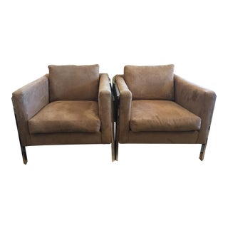 Camel Suede Chairs - A Pair