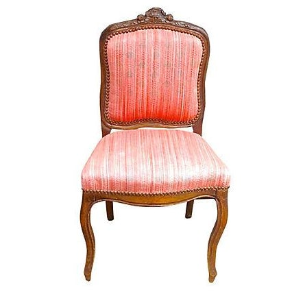 Antique carved red upholstered french side chair chairish for Red and white upholstered chairs