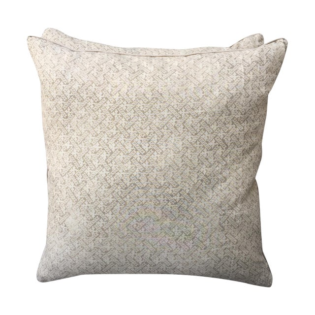 Rose Tarlow Printed Linen Pillows - A Pair - Image 1 of 5