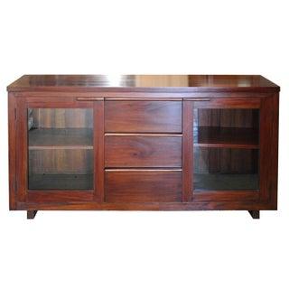 Mahogany & Glass Media Cabinet
