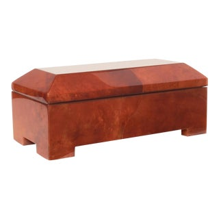 Maitland-Smith Blood Red Parchment Wrapped Casket Jewelry Box