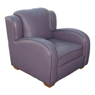 Contemporary Lavender Leather Lounge Arm Chair