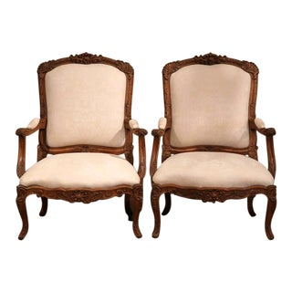 Large French Louis XV Carved Oak Armchairs with Suede Upholstery - A Pair