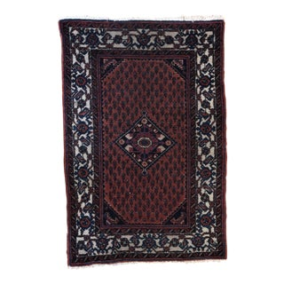 Vintage Burgundy Diamond Medallion Scatter Rug - 2′8″ × 3′11″