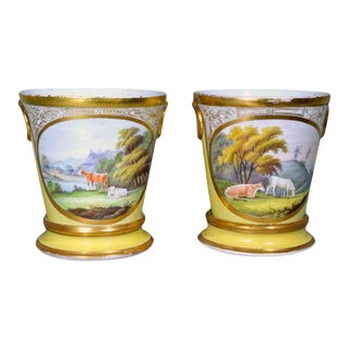 Coalport Porcelain Yellow Cache Pots and Stands With Pastoral Scenes of Cows - a Pair