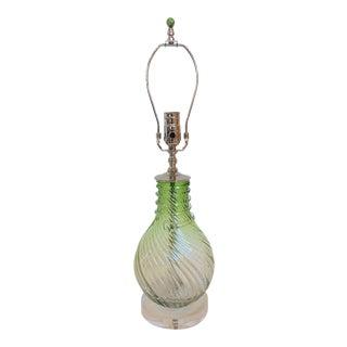 Venetian Chartreuse & Clear Swirl Glass Lamp