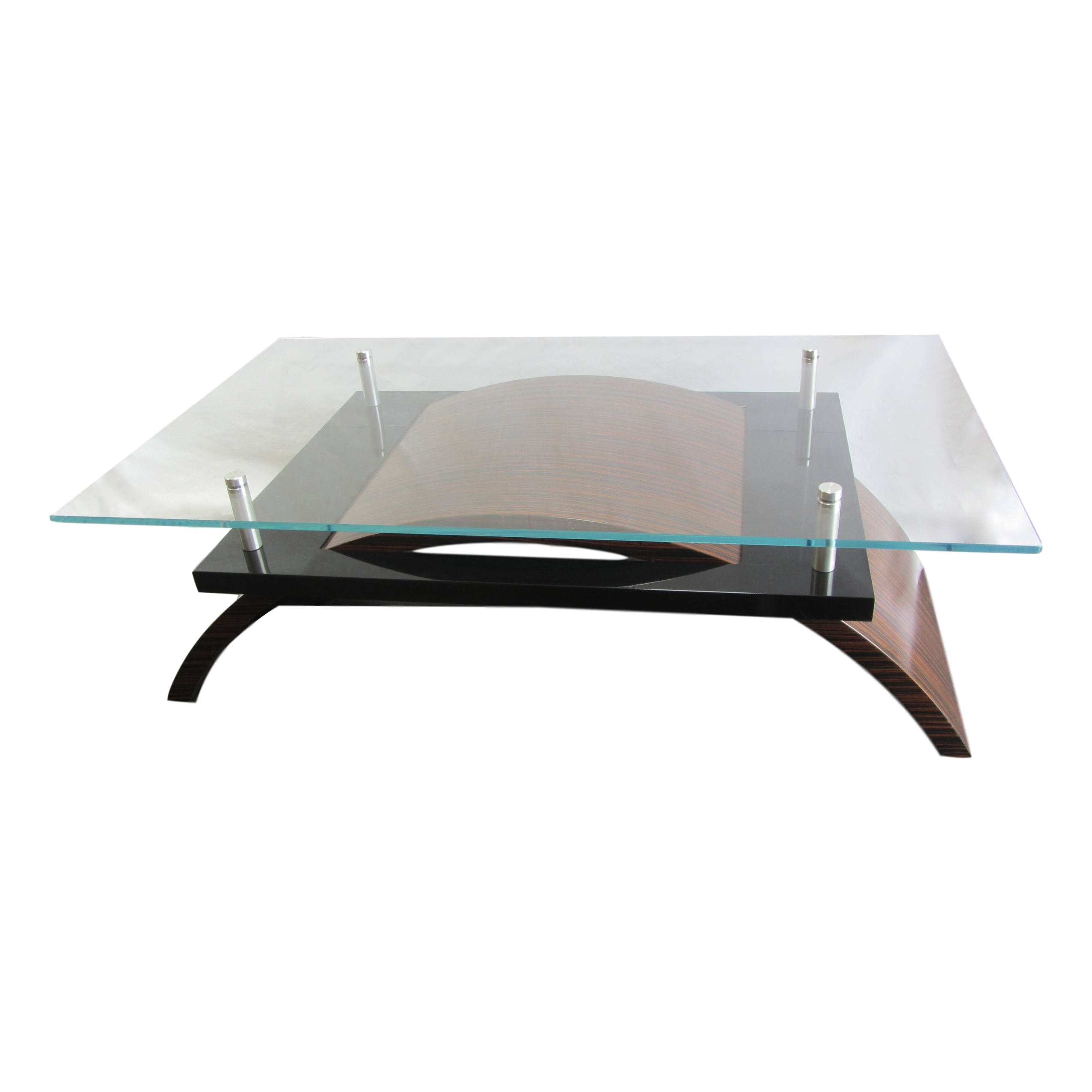 Macassar Ebony Contemporary Glass Cocktail Table   Image 2 Of 10